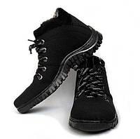 Теплые,  качественные и стильные спортивные мужские ботинки из эко-нубука на меховой основе