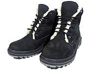 Ботинки женские на меху черные на шнуровке (02)