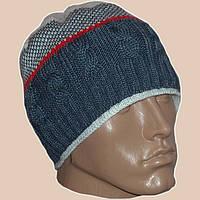 Вязаная мужская шапка в этническом стиле