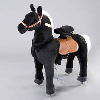 """Механическая лошадка (Поницикл) """"Черный пони"""" средний"""