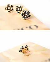 Кольцо женское Цветок - чёрное