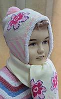 Комплект зимний шапка и шарф для девочки.