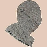 Вязаный шарф-петля бежево-льняного цвета с норвежским орнаментом