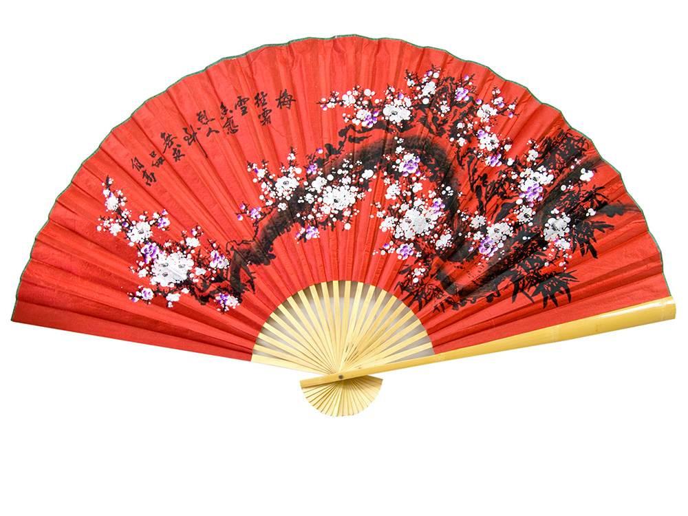 Веер настенный Сакура на красном фоне