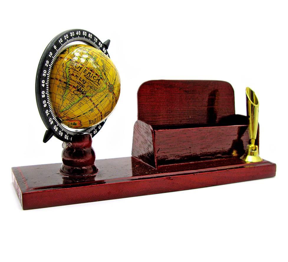 Подставка под ручку  с визитницей и глобусом