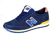 Синие кроссовки натуральный нубук New Balance, фото 1
