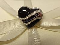 """Кольцо GUESS """" Сердце"""" (чёрное) с устойчивым золотым покрытием и оригинальными стразами Swarovski."""