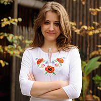 Осенняя женская футболка-вышиванка с рукавом 3/4 Букет анютиные глазки до 56 размера - Белая