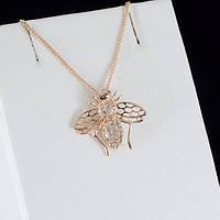 Интересный кулон с кристаллами Swarovski + цепочка, покрытые золотом 0813