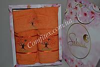 """Комплект махровых полотенец Merpatti """"Sakura - оранжевый"""" (Баня, лицо, салфетка) Хлопок 100% - Турция 3175"""
