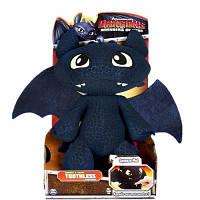 Мягкая игрушка Dragons дракон Беззубик Ночная фурия со звуком 30 см