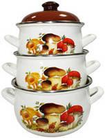 """Посуда эмалированная. Набор кастрюль эмалированных из 3 предметов """"Грибы"""" TM ИНТЕРОС"""