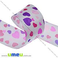 Атласная лента Сердца, 40 мм, Розовая, 1 м (LEN-010277)
