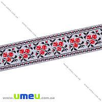 Тесьма с украинским орнаментом, 25 мм, Красная, 1 м (LEN-010373)