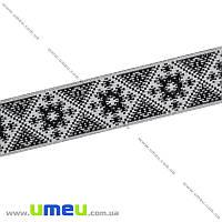 Тесьма с украинским орнаментом, 25 мм, Черная, 1 м (LEN-010376)