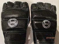Перчатки для единоборств, рукопашного боя (кожа) Boxing (пальцы открытые, ладонь закрытая)