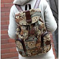 Рюкзак мишки тедди, женский, эксклюзивный, материал - холст, регулируемая длина лямок, размеры 38*34*15 см