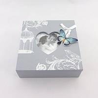 Шкатулка серая с бабочками малая