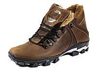 Зимние кожаные мужские ботинки коричневые на меху, фото 1
