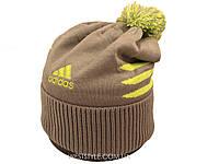 Шапка Adidas серая с салатовым логотипом