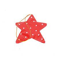 Елочная игрушка звезда белая красная в горошек