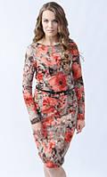 Женское трикотажное платье с красными цветами, с длинным рукавом. Модель 434 Mirabelle