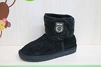 Детские угги на девочку, подростковая зимняя обувь, черные сапожкитм тм KLF р.32,33