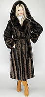 Шикарная женская шуба под норку с капюшоном