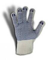 Перчатки рабочие трикотажные с синей точкой ПВХ белые