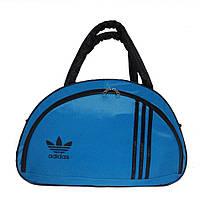 Спортивная женская сумка, голубая, среднего размера, круглые ручки 43х28х19 см
