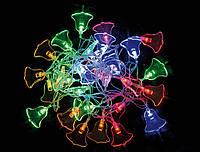 """800721 Электрогирлянда светодиодная """"Колокольчик"""", 30 ламп, многоцв., 3м., прозр.пров, 8 реж.миг."""