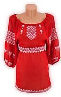 Красная шифоновая блуза вышиванка. Может быть платье под заказ