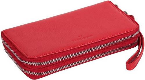 Женский кожаный клатч кошелек Vip Collection, Арт. 1501R flat красный