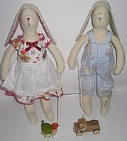 Игрушки мягкие Зайки с машинками Мальчик и девочка