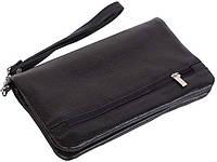 Кожаный, оригинальный клат-кошелек Vip Collection, Арт. 1505A flat черный