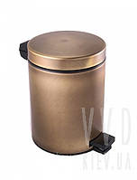 Ведро для мусора 5л с крышкой и педалью (бронза)