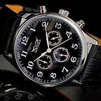 Стильные мужские часы jaragar elite, с кожаным ремешком и стальным корпусом, дата, время 24 часа, день недели