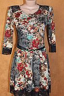 Нарядное трикотажное платье с гипюром и имитацией вышивки, размеры 42,44,46