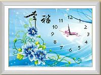 Картина для рисования стразами Diamond painting Алмазная вышивка алмазами мозаика часы с цветами