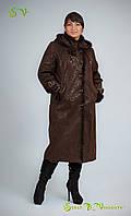 Дубленка женская демисезонная с вставками из натурального меха норки  на воротнике,капюшоне,манжетах