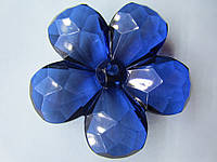 Цветок акриловый объёмный, рифлёный, для заколки, бижутерии, диаметр 4 см Синий