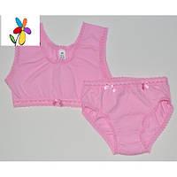 Набор белья для девочки Бюстик. Размер 110 - 140 см. Белый, розовый