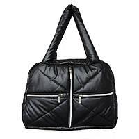Дутая сумка под пуховик, черная с серебристыми молниями, фото 1