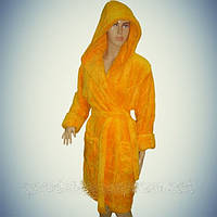"Махровый женский халат Soft (Короткий с капюшоном) ""Желтый"" - Турция"