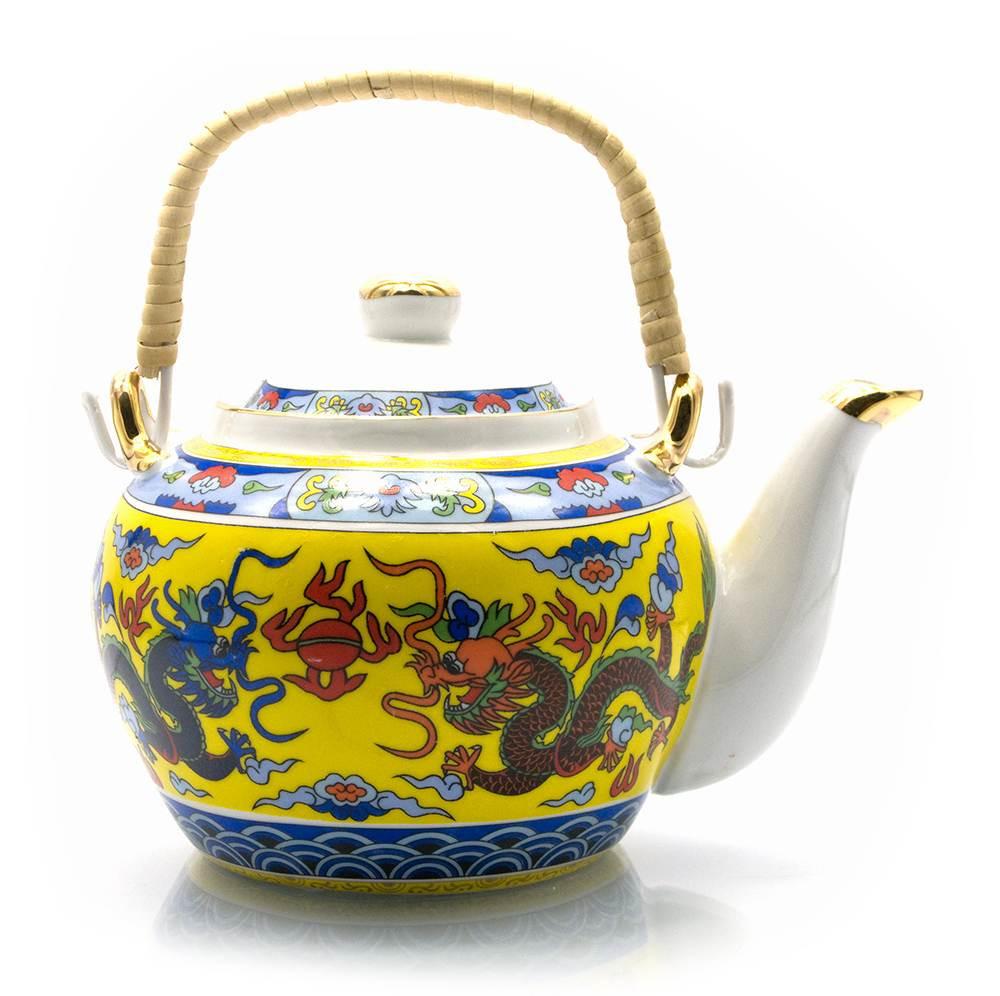 Чайник фарфоровый с бамбуковой ручкой Драконы