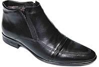 """Мужские зимние ботинки """"Strado"""". Натуральный мех(Цигейка). Кожаные. Черные"""