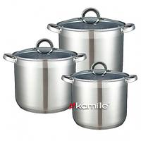 Набор кастрюль из нержавеющей стали 6 предметов (8л, 10л, 12.5л) Kamille 5801