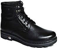 """Зимние ботинки мужские """"Max Mayar"""". Натуральный мех(Цигейка). Кожаные. Черные"""