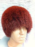 Меховая шапка из песца террактового  цвета на вязанной  основе