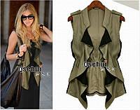 Новинка 2014 супер стильная блузка-жилет шифон+лён